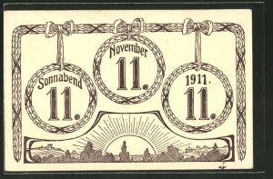 AK Sonnabend 11. 11. 1911., Datum im Lorbeerkranz