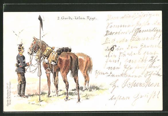Künstler-AK Carl Becker: 2. Garde-Ulan-Regt., Soldat mit Pferden
