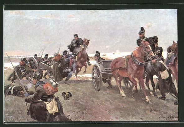 Künstler-AK Carl Becker: Oberleutnant Emil Freiherr von Stengel in der Schlacht bei Villepion