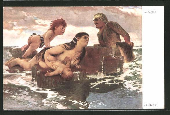 Künstler-AK Arnold Böcklin: Im Meere, Nixen