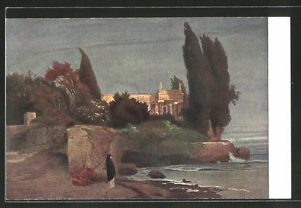 Künstler-AK Arnold Böcklin: Die Villa am Meer (Abendstimmung)