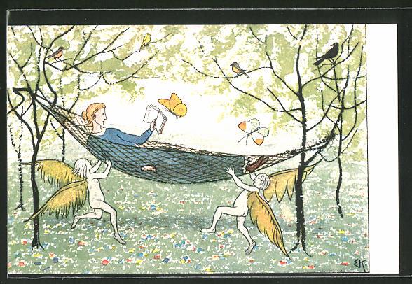Künstler-AK Ernst Kreidolf: In der Hängematte, lesende Frau mit Elfen