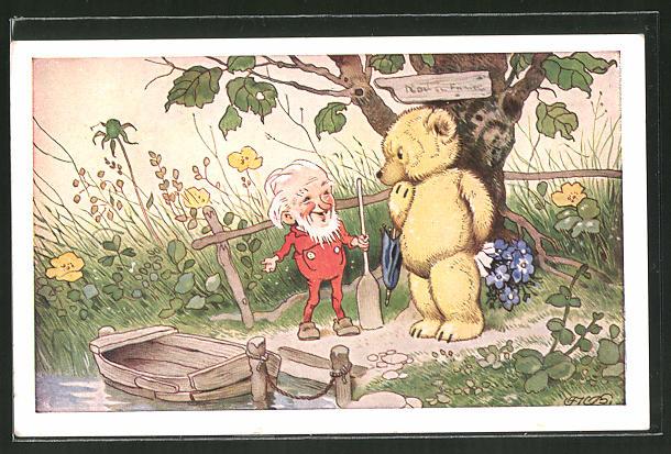 Künstler-AK Fritz Baumgarten: Teddy trifft einen Zwerg als Fährmann