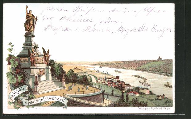 Lithographie National-Denkmal Niederwald