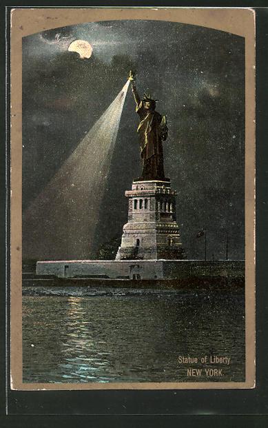 AK New York, Statue of Liberty, Freiheitsstatue bei Nacht