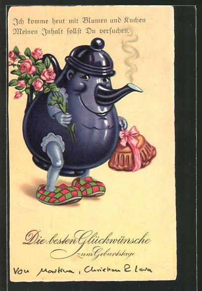 AK vermenschlichte Teekanne mit Blumen und Kuchen, Metamorphose, Glückwunsch zum Geburtstag
