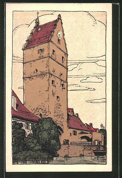 Steindruck-AK Dinkelsbühl, Wörnitz-Tor mit Mühlgraben