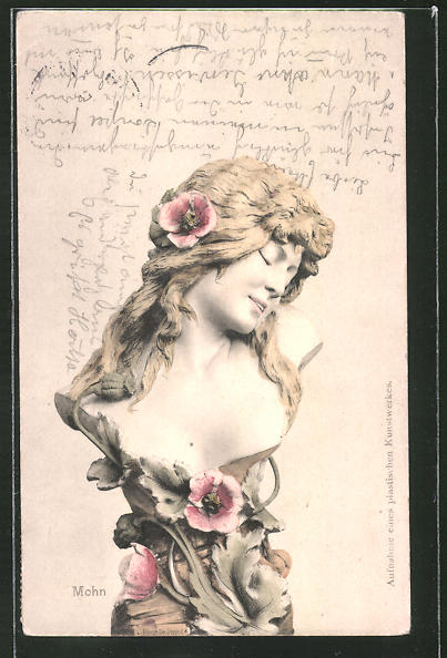 AK Statue einer Frau mit Blumenranken, Jugendstil