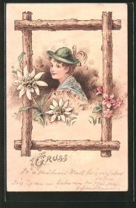 Holzbrand-Imitations-AK Junge mit Hut und Blumen in einem Holzrahmen