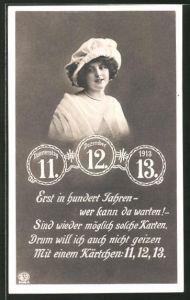 AK Frau mit Kopfbedeckung und seltenes Datum 11.12.13