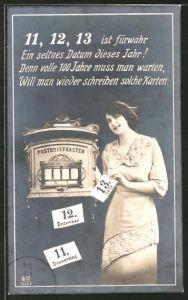 AK Frau mit Postkarten, Besonderes Datum 11.12.13