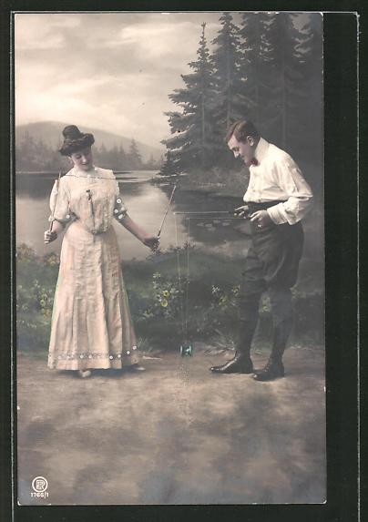 AK Mann und Frau spielen mit einem Diabolo, Spielzeug