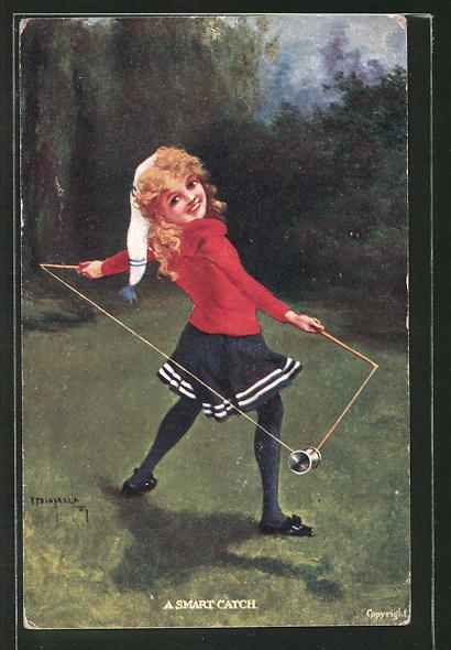 AK A smart Catch, Mädchen mit Mütze spielt mit einem Diabolo, Spielzeug