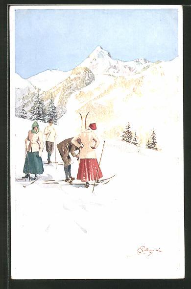 Künstler-AK Carlo Pellegrini: Männer und Frauen auf der Skipiste