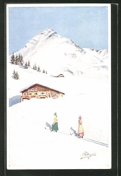 Künstler-AK Carlo Pellegrini: Skiläuferinnen gehen den Berg hinauf