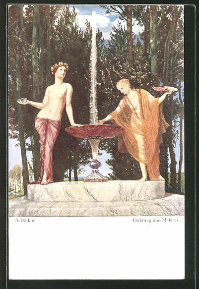 Künstler-AK Arnold Böcklin: Dichtung und Malerei, Frauen am Brunnen