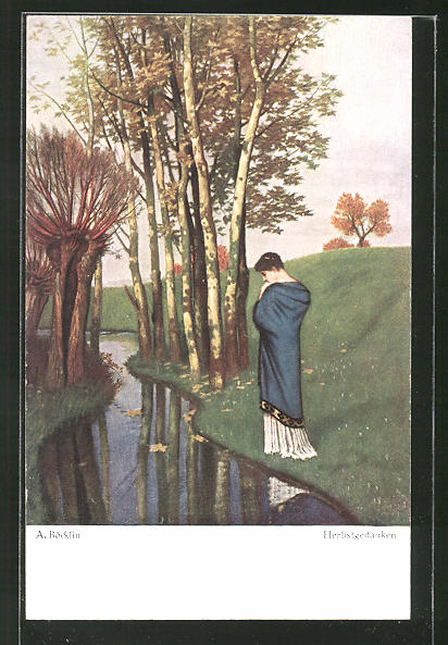 Künstler-AK Arnold Böcklin: Herbstgedanken, Frau im Kleid am Bach