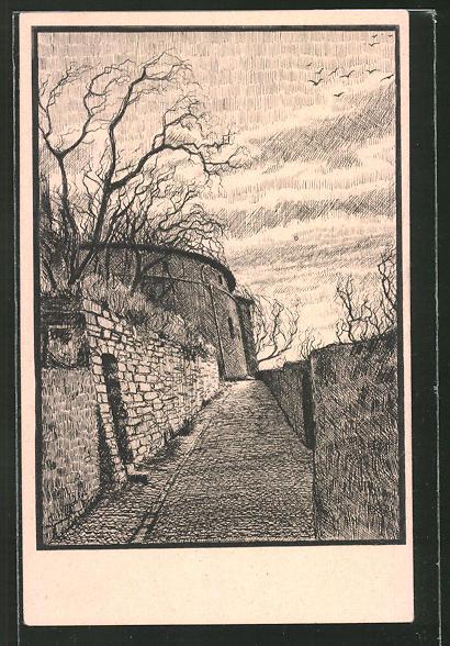 Künstler-AK K. Blossfeld: Bernburg, Am Schlossberg