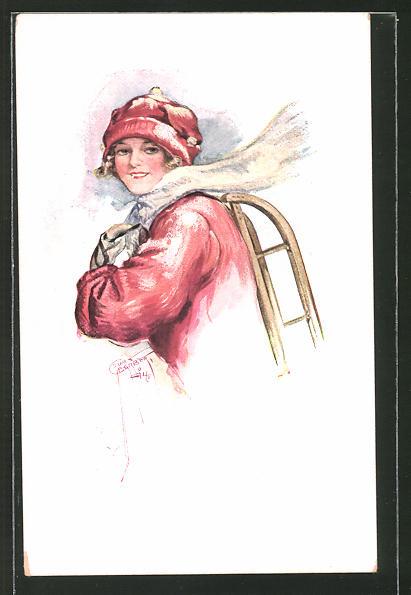 Künstler-AK Court Barber: Mädchen in Winterkleidung mit einem Schlitten auf dem Rücken