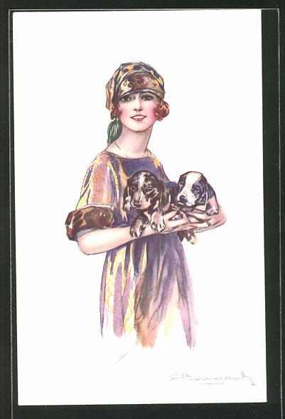 Künstler-AK Sergio Bompard: Frau mit Kopfbedeckung hat zwei Hunde im Arm