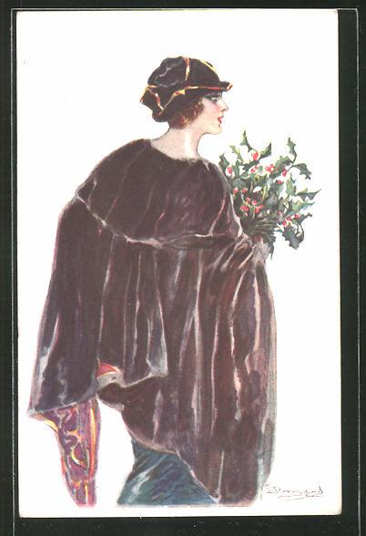 Künstler-AK Sergio Bompard: Frau im Mantel mit Mütze und Mistelzweigen