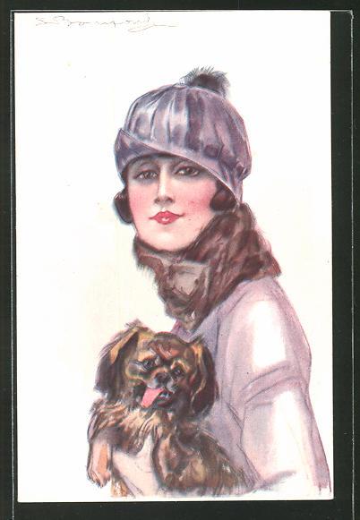 Künstler-AK Sergio Bompard: Frau in Winterkleidung mit einem Hund auf dem Arm