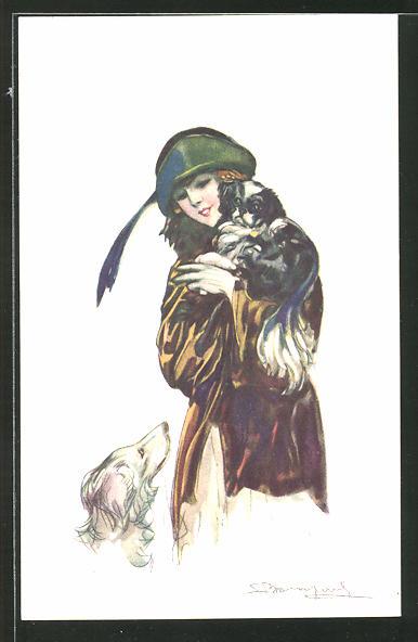 Künstler-AK Sergio Bompard: Frau trägt ihren Hund auf dem Arm und schaut einen anderen an