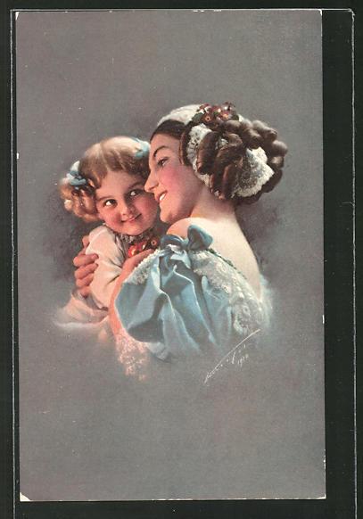 Künstler-AK Ludwig Knoefel: Frau mit Tochter im Arm
