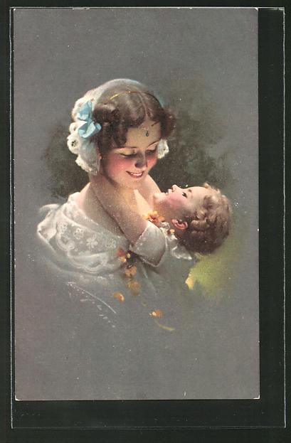 Künstler-AK Ludwig Knoefel: Frau mit Baby im Arm