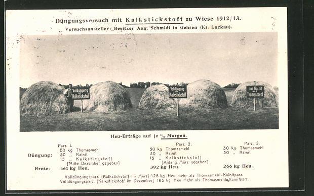 AK Reklame für Kalkstickstoff, Düngungsversuch zu Wiese 1912 /13