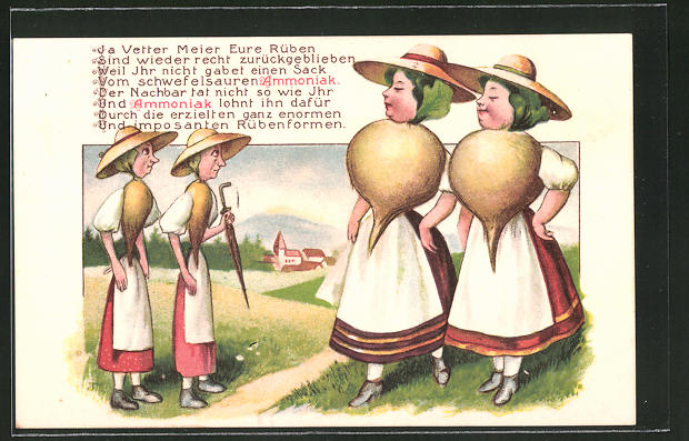 AK Reklame für Ammoniak, Frauen als Rüben