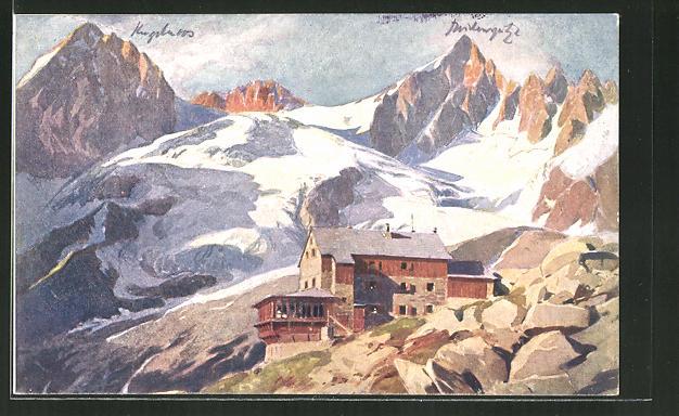 Künstler-AK Edo v. Handel-Mazzetti: Plauener Hütte, Berghütte gegen Kuchelmoosspitze und Reichenspitze