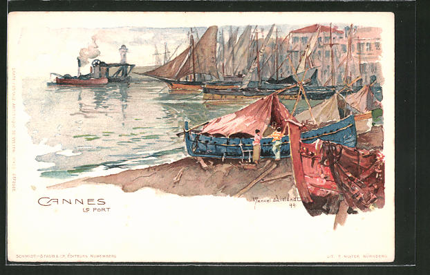 Künstler-AK Manuel Wielandt: Cannes, Le Port, Hafenpartie