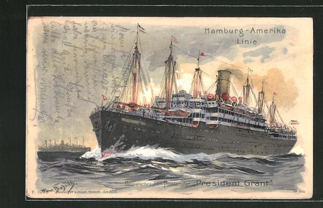 Künstler-AK Hans Bohrdt: Passagierschiff