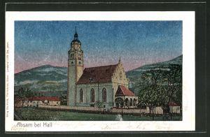 Luna-AK Absam b. Hall, An der Kirche