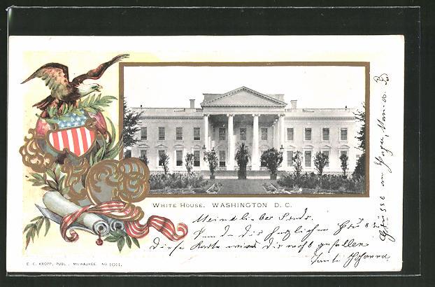 Präge-Passepartout-Lithographie Washington D.C., Teilansicht vom White House mit Wappen
