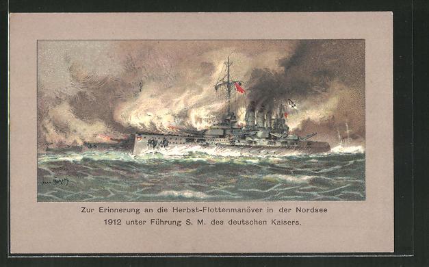 Künstler-AK Hans Bohrdt: Herbst-Flottenmanöver in der Nordsee 1912, SMS Deutscher Kaiser