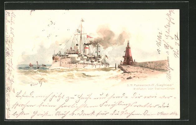 Künstler-Lithographie Hans Bohrdt: Swinemünde, Panzerschiff Siegfried