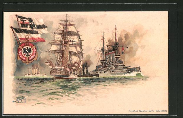Künstler-AK Hans Bohrdt: Segelschiff und modernere Kriegsschiffe