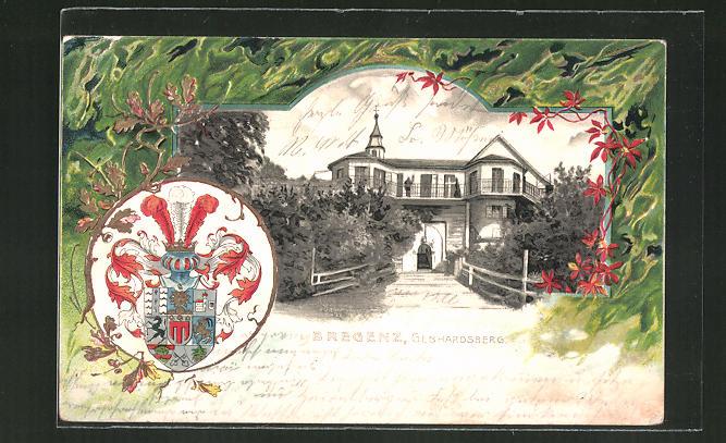 Präge-Passepartout-Lithographie Grenez, Gebhardsberg und Wappen