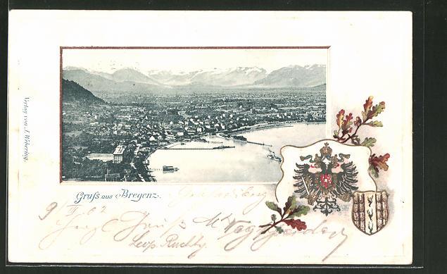 Passepartout-Lithographie Bregenz, Wappen und Panorama