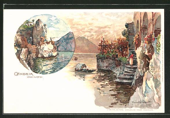 Künstler-Lithographie Manuel Wielandt: Candria, Lago di Locarno