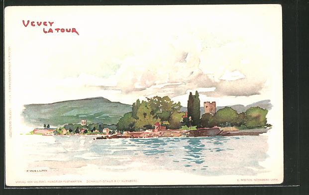 Künstler-Lithographie Fritz Voellmy: Vevey la Tour, Panorama