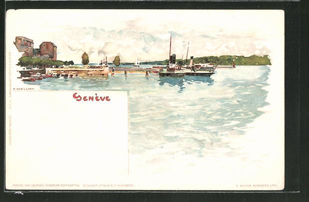 Künstler-Lithographie Fritz Voellmy: Genève / Genf, Hafenpanorama