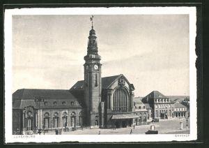 AK Luxemburg, Vorderansicht vom Bahnhof
