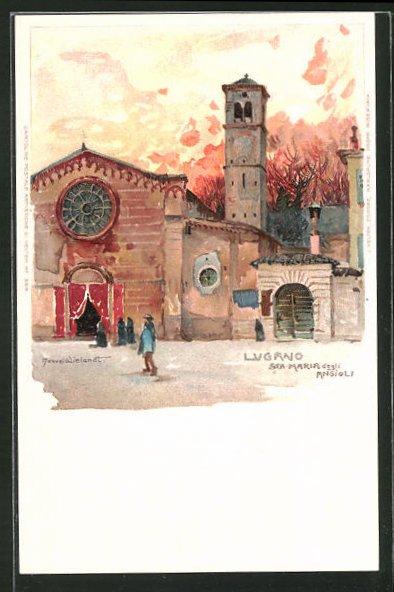 Künstler-AK Manuel Wielandt: Lugano, Sta. Maria degli Angioli