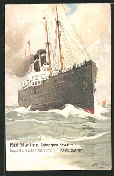 Künstler-AK Henri Cassiers: Passagierschiff