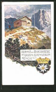 Künstler-AK Ernst Platz: Herman von Barth-Hütte, Berghütte des Akadem: Alpen-Vereins München