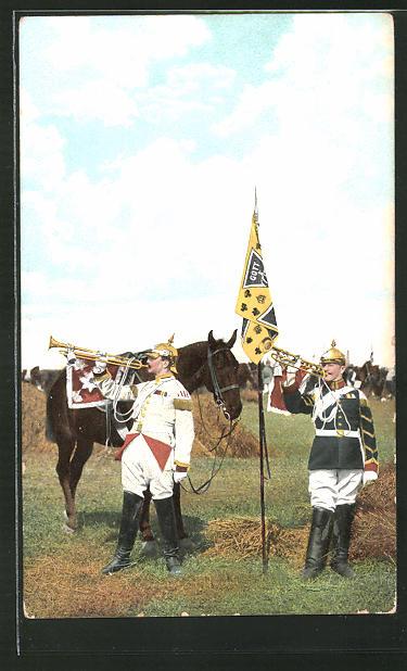 AK Kavallerie mit Pickelhauben blasen in eine Fanfarentrompete