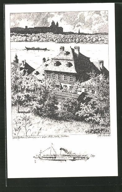 Künstler-AK Ulf Seidl: Melk, Schloss Luberegg gegen Stift Melk,